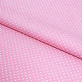 Hans-Textil-Shop Stoff Meterware Punkte 2 mm Weiß auf Rosa