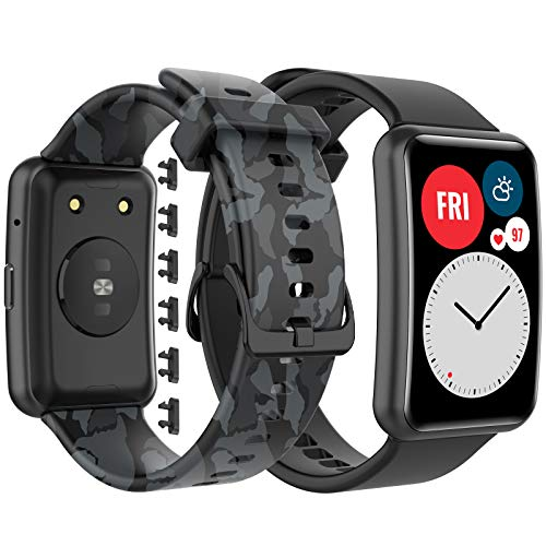 GeeRic Kompatibel Mit Huawei Watch Fit Armband,2 PCS Silikonband Kompatibel Mit Watch Fit Ersatzband
