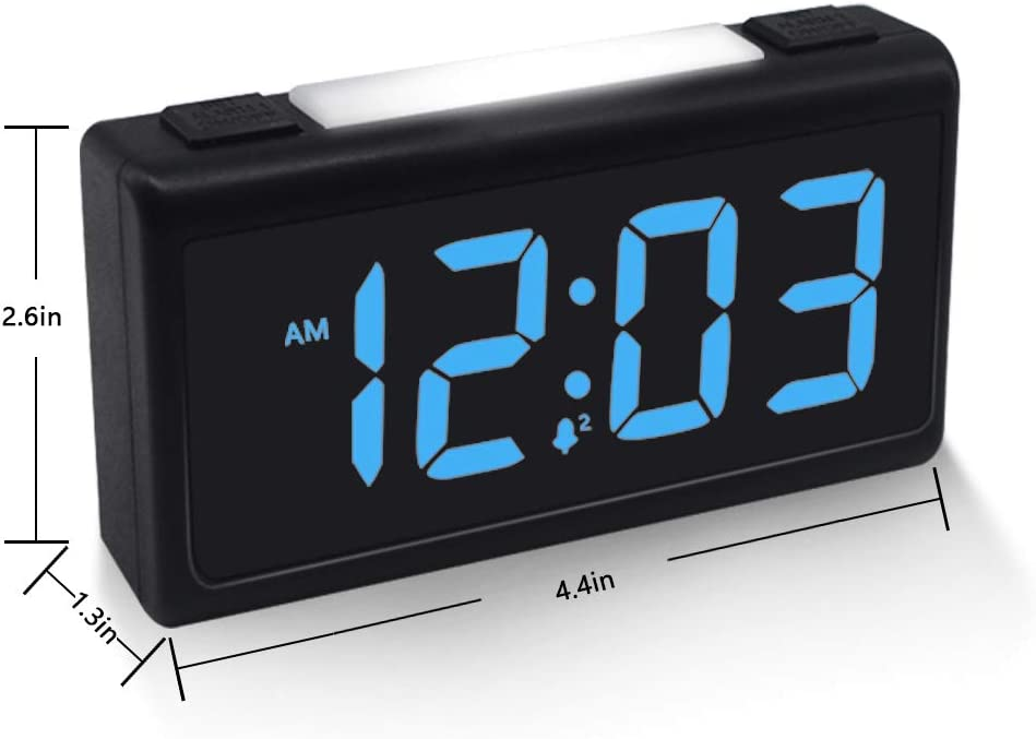 USB Charging Port Digital Dual Alarm Clock with Night Light Snooze Dimmer and Battery Backup for Bedrooms 12//24 Hour
