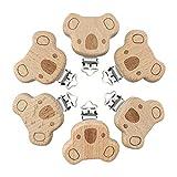 Artestar 6Pcs Koala Schnullerclips Kit Niedliche Holzklammern Schnuller Tierherz Baby Hosenträger Clips DIY, um Ihre Ketten Kleinkind Jungen Mädchen Zahnen Schmerzlinderung Spielzeug Zubehör zu machen