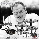 Productos Del Hogar Cook&Chef Kitchen Pack de 3 sartenes + batería de Cocina 8 Piezas + Pack de Utensilios de Cocina