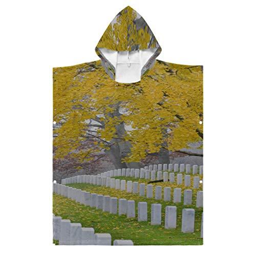 LONGYUU Kapuzenwechsel-Handtuch Poncho Arlington National Cemetery in der Nähe von Washington DC Surf Handtuch Poncho Kapuze für Bad/Dusche/Pool/Schwimmen 1-7 Jahre alte Kinder Bademantel