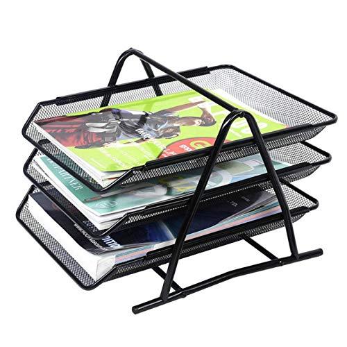 Bastidores de archivos de hierro de 3 capas, bandejas de archivo de malla A4, soporte de archivo de escritorio, estantería para documentos