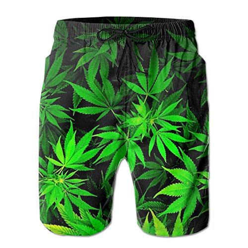 Herren Badehose Beach Shorts Casual Herren Badehose Beach Shorts Quick Dry Cool Green Amazing Weed Leaves Printed Beach Shorts Summer Boardshorts with Mesh Lining