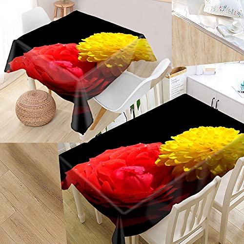 XXDD Mantel Personalizado con Flores y Rosas, Estampado Oxford, Rectangular, Impermeable, a Prueba de Aceite, Mantel Cuadrado para Boda, A2 140x160cm