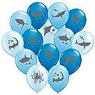 "Gypsy Jade's Ocean Blue Shark Balloons - Great For Shark Themed Birthday Parties, Shark Week Parties or Under-The-Sea gatherings - Package of 36 - Big 12"" Latex Balloons!"
