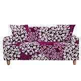 Funda Elástica para Sofá de 1/2/3/4 Plazas, Chickwin Universal Color 3D Floral Estilo Antideslizante Tejido Elástico Lavable Extensible Cubierta Protector de Sofá (Flor Rojo-Blanca,3 plazas)