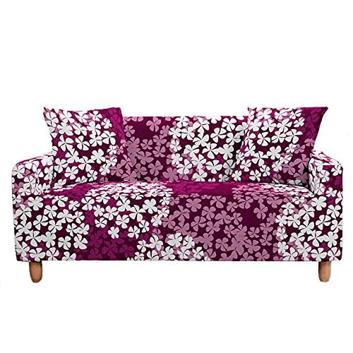 Funda Elástica para Sofá de 1/2/3/4 Plazas, Chickwin Universal Color 3D Floral Estilo Antideslizante Tejido Elástico Lavable Extensible Cubierta Protector de Sofá (Flor Rojo-Blanca,3 plazas) 🔥