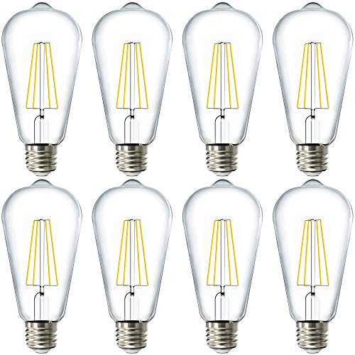 Sunco Lighting 8 Pack ST64 LED Bulb, Dimmable, Waterproof, 8.5W=60W, 3000K Warm White, Vintage Edison Filament Bulb, 800 LM, E26 Base, Restaurant or String Lights - UL