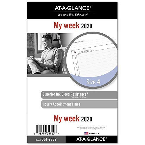 AT-A-GLANCE 2020 Weekly Planner Refill, Day Runner, 5-1/2