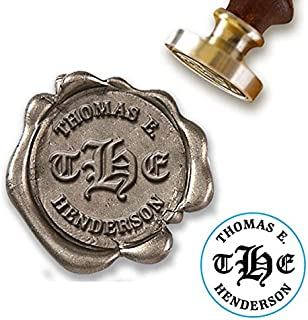 """Custom Wax Seal Stamp Kit with Sealing Wax-1"""" Die-3 Initial Old English Monogram with Name"""