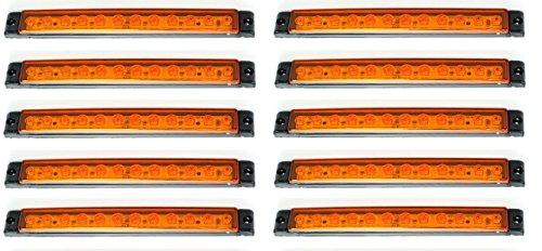 Lot de 10 feux de gabarit 12 LED 175 mm Orange Orange 12 V