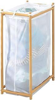 mDesign panier à linge pour salle de bain ou buanderie – sac à linge sale en filet perméable à l'air – corbeille à linge a...