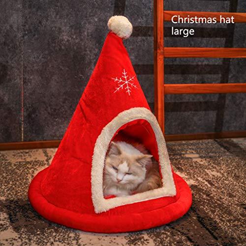 Qks Medium Kleine Titten Katze Große Katze-Bett-Katze-Welpen-Kleintier Nest Medium Weihnachtsbaum Katze Hund Nest Katze Nest Geeignet für Hauskatzen und Hunde,A,L