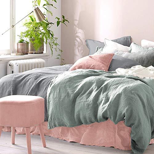Pure Label Halbleinen Bettwäsche - Set aus Baumwolle und Leinen, Größe:2tlg. 135x200cm + 80x80cm, Farbe:Grau