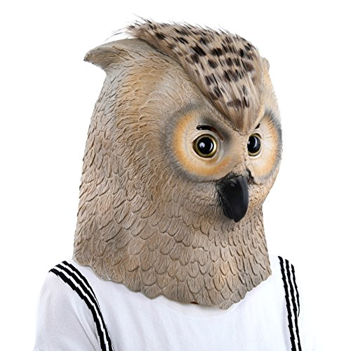 Lubber Deluxe Halloween Owl Costume Cosplay Latex Animal Head Mask for Party