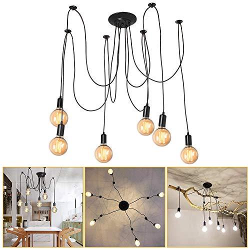 Spinne Kronleuchter DIY Deckenleuchte Lampe Kopf Deckenleuchte Halter Retro Industry Ceiling Light Speisesaal Schlafzimmer Wohnzimmer Esszimmer Hotel Dekoration (6 Kopf)