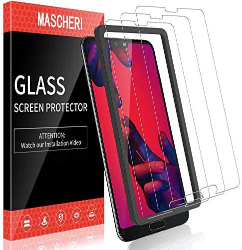 MASCHERI Schutzfolie für Huawei P20 Pro Panzerglas, [3 Pack] [Max Abdeckung] Displayschutzfolie [Ausgestattet mit einem Einbaurahmen] Displayschutz Glas Panzerglasfolie Für P20 Pro