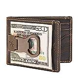 HOJ Co. Bottle Opener Front Pocket Wallet For Men | Full Grain Leather | Bifold Wallet With Money Clip | Wallet With Clip | Novelty Men's Wallet