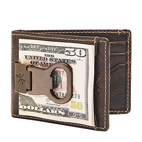 HOJ Co. Bottle Opener Front Pocket Wallet For Men   Full Grain Leather   Bifold Wallet With Money Clip   Wallet With Clip   Novelty Men