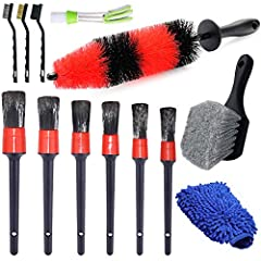 13 Pcs WHEEL BRUSH KIT: This wheel brush set includes 17 inches long wheel rim brush, 6 different sizes car detailing brushes, 1 tire brush, 1 car wash mitt, 1 air vents brush, 3 wire brushes, meet your needs of car cleaning. LONG Handle WHEEL BRUSH:...