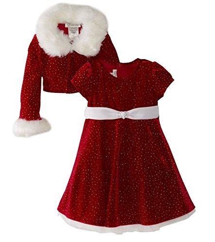 Bonnie Jean - Girls Christmas Dress Velvet Sparkle Dress with Jacket (7) Red