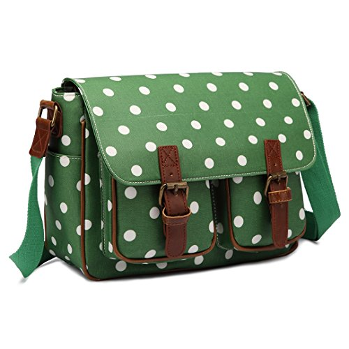 Kono Women's Multi Pocket Messenger Bag Casual Shoulder Bag Oilcloth Satchel Polka Dot Bag Cross Body Bag Travel Bag Messenger Handbag for School Shopping Daily Use (Green)