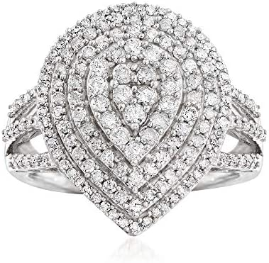 Ross Simons 1 03 ct t w Diamond Graduated Pear Shaped Ring in Sterling Silver Size 9 product image