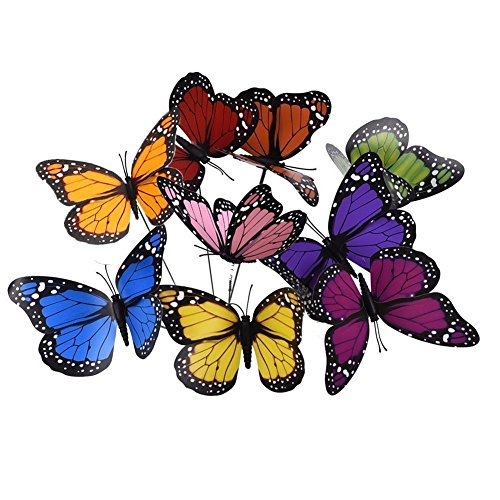 KINGLAKE 27 Stücke Bunte Garten Schmetterlinge Ornamente auf Stöcke 12 cm Schmetterling Stakes Dekorationen für Terrasse Rasen Outdoor Schmetterlinge Dekoration, 9 Farben