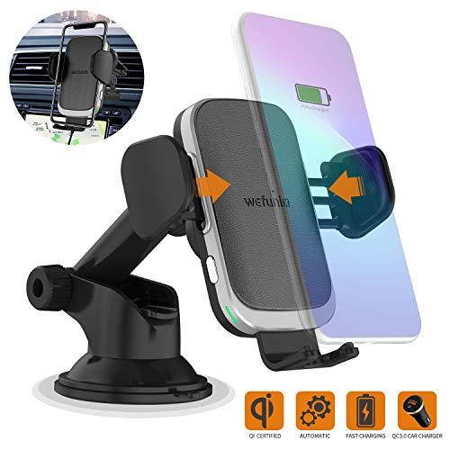 Wefunix Cargador Inalámbrico Coche Carga Rápida Sensor Automático USB C+Adaptador QC 3.0, 7.5W para iPhone 11 Pro XS Max XR X 8 Plus,10W para Samsung Galaxy S20 S10 S9 S8 S7 Note 10/9/8,Huawei P30 Pro