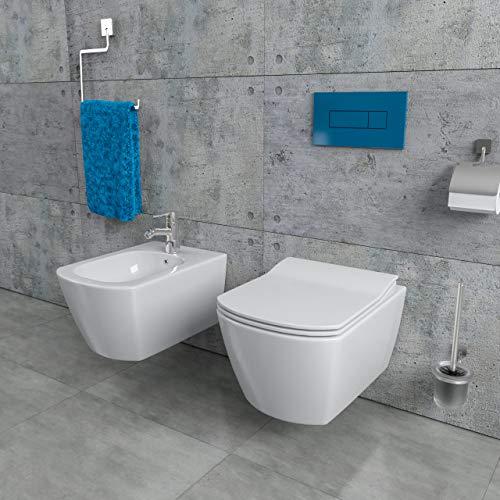 KERABAD Design Keramik Wand Hänge WC Toilette Randlos + Bidet inkl. WC Sitz aus Duroplast mit Absenkautomatik Spülrandlos KB-CDZ_6ZPW-Set