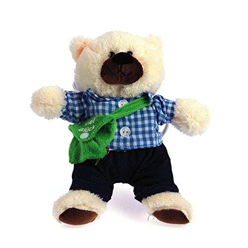ebos Teddybär in Trachtenhemd ✓ mit Jeans und Tasche  Verschiedene Designs verfügbar (Weiß/Blau/Grün)