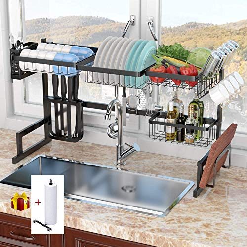 "Dish Rack Over Sink(32.5"") Dish Drying Rack Kitchen Stainless Steel Over The Sink Shelf Storage Rack (Sink size ≤ 32.5 inch)(Black, 33.5X12.5X20.5inch)"