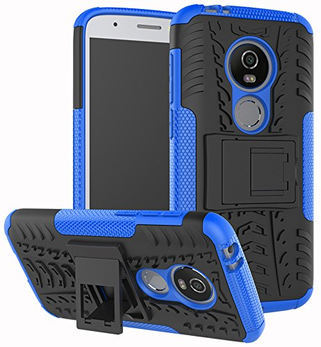 Moto E5 Play Case, Moto E5 Cruise Case, Yiakeng Dual Layer Shockproof Wallet Slim Protective with Kickstand Hard Phone Case Cover for Motorola Moto E5 Play (Blue)