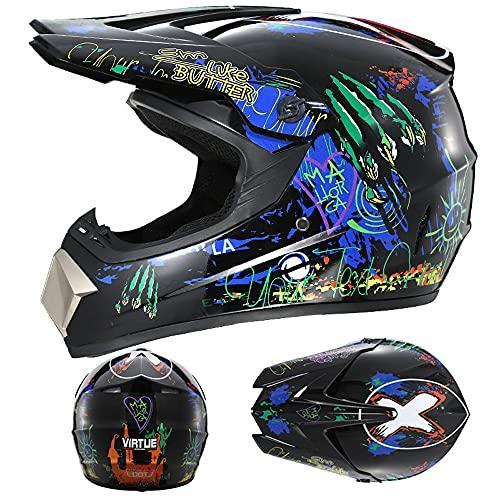 LIALIYA Juego de casco de motocross, para adultos, para quad, bicicletas, BMX, ATV, todoterreno, casco de motomotocross, juego de casco de moto para adultos, 2, L