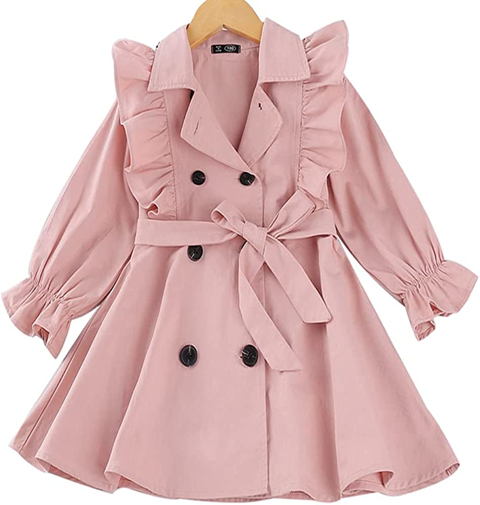 Toddler Baby Girl Fall Trench Coat OFFicial Trim Double Ruffle Ultra-Cheap Deals Breasted B