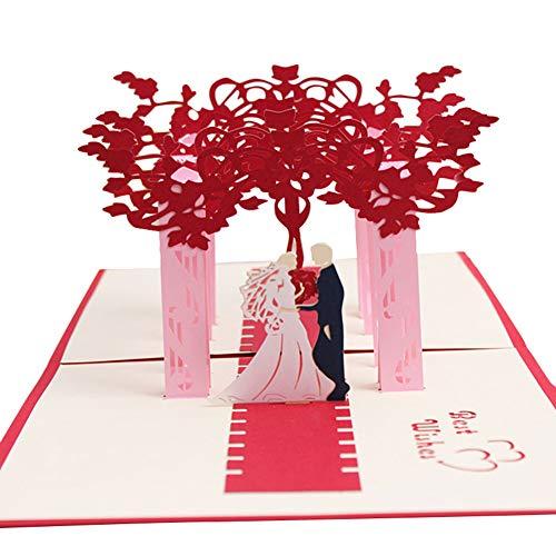 Ruikey 3D Pop-up Hochzeitskarte,Pop-up Karte,Handgemachte Hochzeitsgrußkarte Hochzeit Einladungskarte