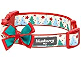 Blueberry Pet 4 Patterns Christmas Moments of Fantasy Embrace Nature Designer Adjustable Bowtie Dog Collar, Medium, Neck 14.5'-20'