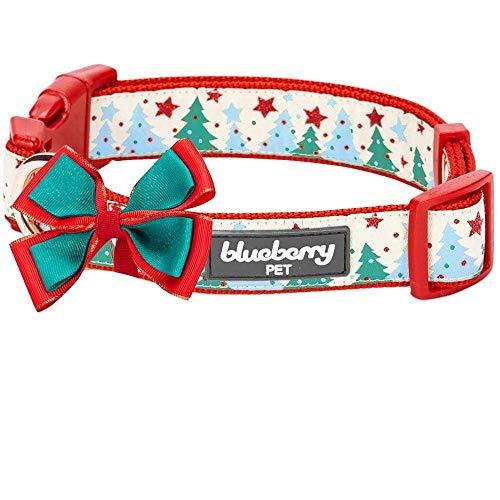 "Blueberry Pet 4 Patterns Christmas Moments of Fantasy Embrace Nature Designer Adjustable Bowtie Dog Collar, Medium, Neck 14.5""-20"""