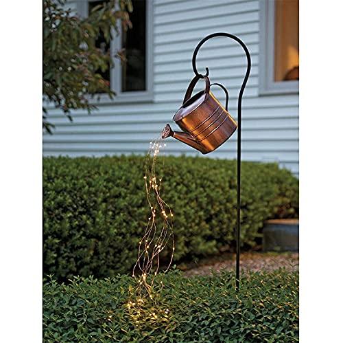 QYK -Luces de Hadas Impermeables para Exteriores, Luces de Hadas para decoración de jardín a batería, Luces de Hadas para jardín al Aire Libre, lámparas de jardín, regadera, farolillos,2brass
