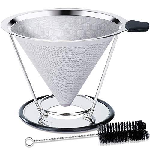 ISIYINER Permanenter Kaffeefilter Edelstahl Papierloser Wiederverwendbarer Kaffeetropfer Übergießen mit Reinigungsbürste Herausnehmbarem Inhalt für 1-4 Tassen