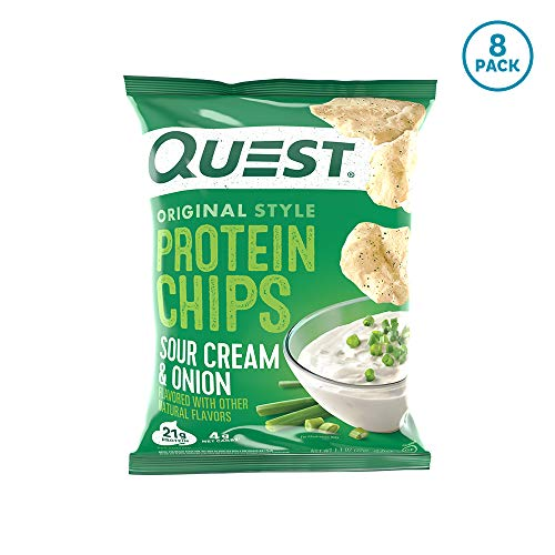 Quest Nutrition Sour Cream & Onion Protein Chips, Low Carb, Gluten Free, Potato Free, Baked, (8 Count of 1.1 oz Bags) 9 oz