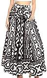 Sakkas 19417 - Ami Women's Maxi Long African Ankara Print Skirt Pockets & Elastic Waist - 112-BlackWhiteMulti - OS