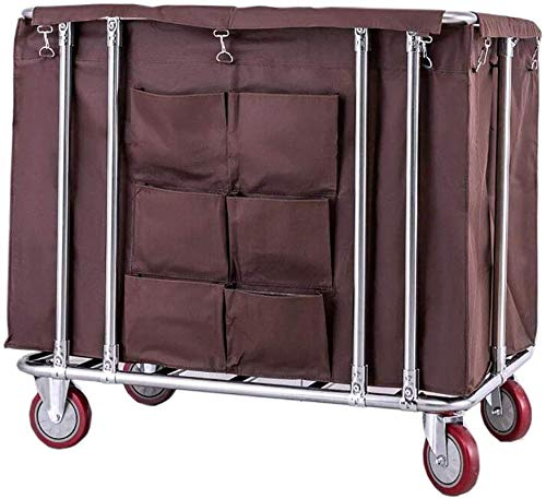 MRT Wäschesortierwagen Reinigungsservice Rollwagen, Servierwagen mit 6 Taschen, abnehmbare Oxford-Stofftasche (Farbe : Beige)