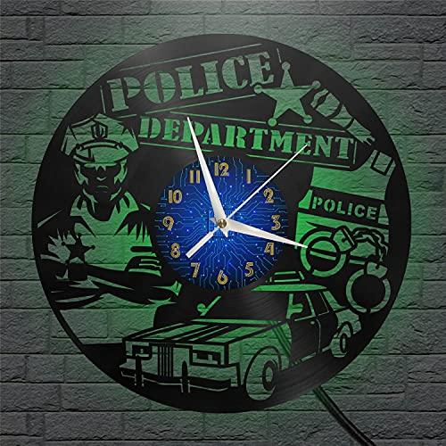 Departamento DE POLICÍA Reloj de Pared de Vinilo, Reloj con Disco de ViniloArte deParedNegro de 12 Pulgadas para Sala de Estar, Dormitorio (B), con Regalo LED para Hombres o Mujeres.Navidad,