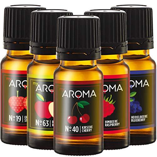 myAROMA | Set: Wald & Wiese - rein natürliches Aroma mit Obst- & Fruchtgeschmack (5x 10ml) | Zuckerfrei & ohne Süßung