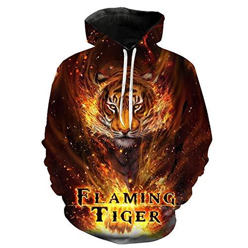 ZCMWY Primavera Otoño 3D Animal Tiger Print Sudadera con Capucha Hombres Ropa Sudadera con Capucha Chaqueta Sudadera XL