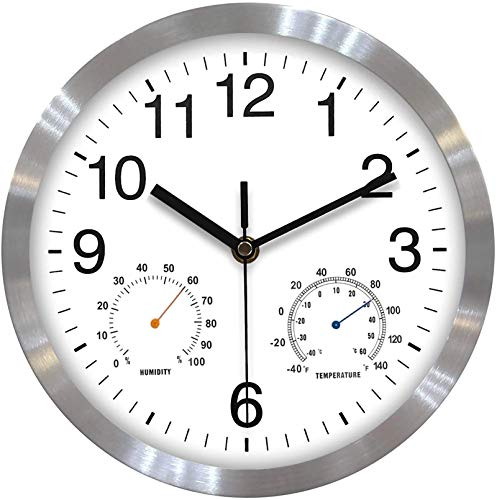 Fzy.bstim Silent Non Ticking Wall Clocks Battery Operated,10 Inch Quality Quartz Modern Wall Clock with Thermometer and Hygrometer, Decorative for Kitchen,Living Room,Bathroom,Office,Garage (White)