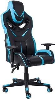 Silla De Escritorio Gamer Profesional, Silla ergonómica de Respaldo Alto Gamer, reposacabezas Integrado, reposabrazos Ajustable, 150 ° reclinable 360 ° Soporte de Cintura Giratorio Azul