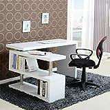 scrivania per computer scaffale laptop desk da studio, scrivania ufficio per pc a forma di l, desk angolo regolabile girevole del computer da 360 gradi per casa/ufficio, 100 x 48 x 75 cm(bianco)